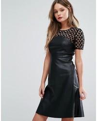 Vero Moda Leather Look Skater Dress With Lace Yoke