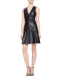 McQ by Alexander McQueen Mcq Alexander Mcqueen Fit Flare Sleeveless Leather Dress