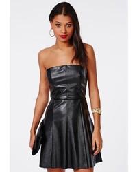 Missguided Leather Bandeau Skater Mini Dress Black