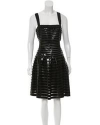 Prada Patent Leather Trimmed Silk Dress