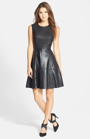 Halogen Perforated Leather Fit Flare Dress 298 Nordstrom
