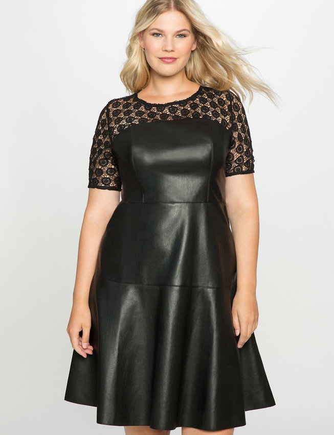 ELOQUII Plus Size Studio Lace And Leather Dress, $139 | ELOQUII ...