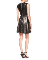 Michael Kors Michl Kors Drop Skirt Cap Sleeve Leather