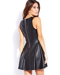 Skater dress black leather