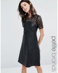 Vero Moda Petite Leather Look Lace Skater Dress