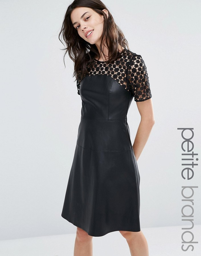 ... Black Leather Skater Dresses Vero Moda Petite Leather Look Lace Skater  Dress ... c31d6e1d3