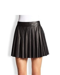 Alice + Olivia Pleated Leather Skirt Black