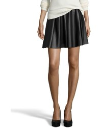 Wyatt Black Faux Leather Perforated Skater Skirt