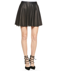 Blaise leather trapeze skirt with lace hem medium 268964