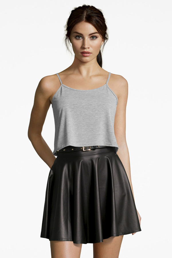 black leather skater skirt boohoo jules leather look