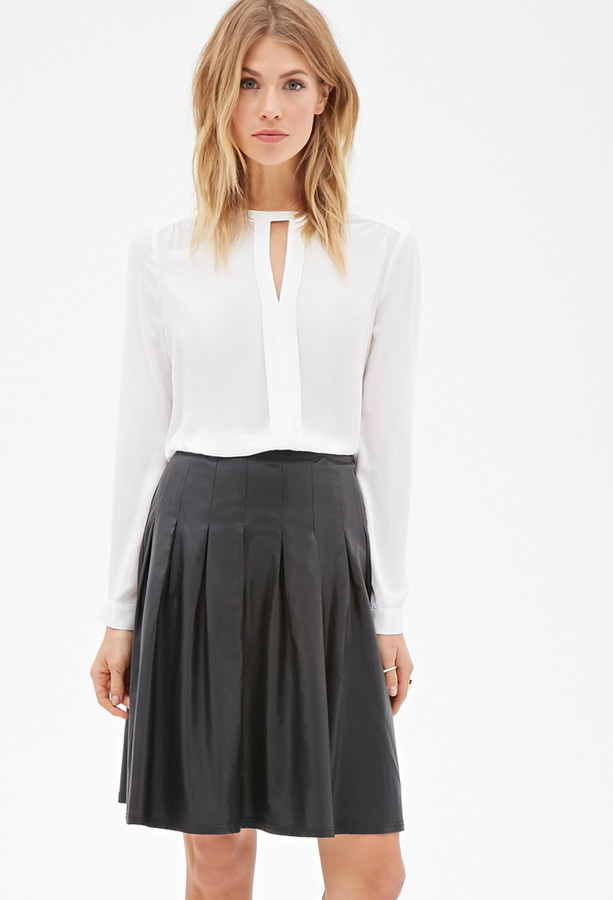 eb8261bff Forever 21 Contemporary Faux Leather Box Pleated Skirt, $24   Forever 21    Lookastic.com