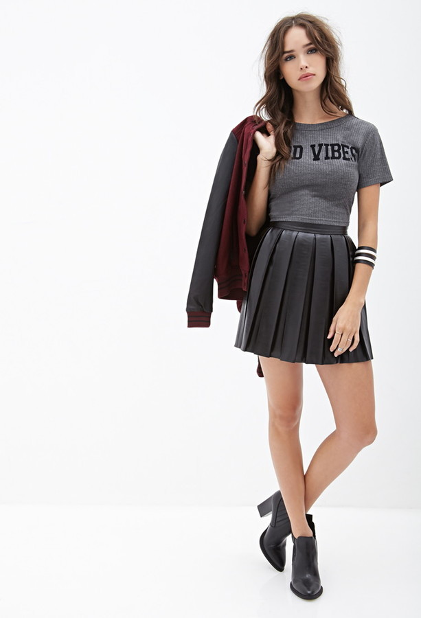aa127feb253922 Forever 21 Faux Leather Pleated Skirt, $27 | Forever 21 | Lookastic.com