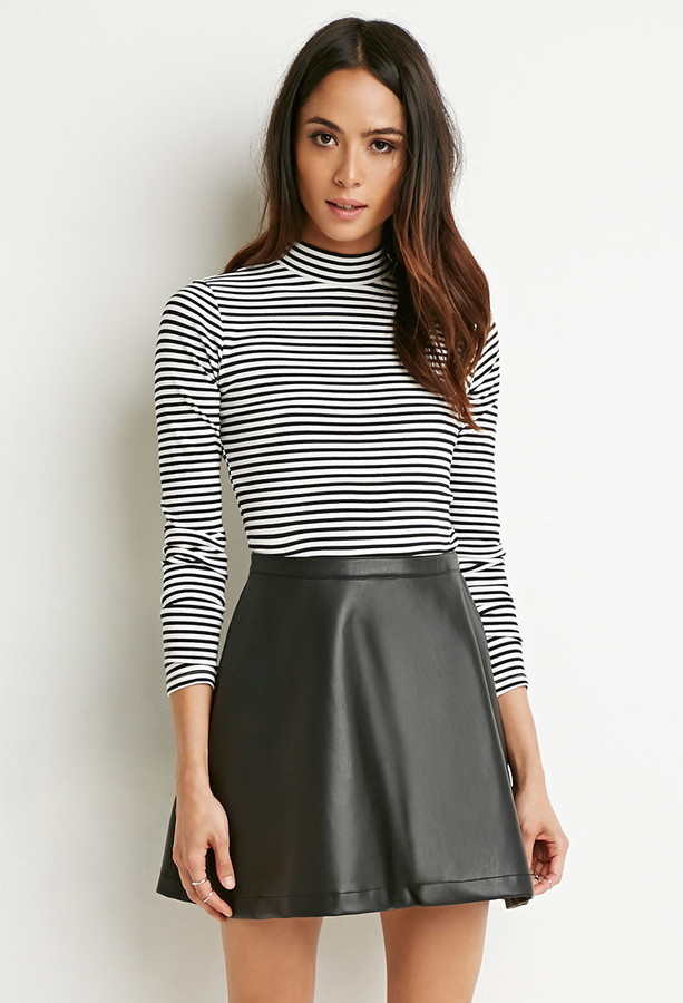 087c6c11a0e730 Forever 21 Faux Leather Skater Skirt, $17 | Forever 21 | Lookastic.com