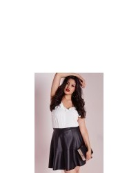 c75bd6b8982 ... Missguided Plus Size Faux Leather Skater Skirt Black ...