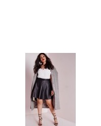 cb3fd1f77f1 ... Missguided Plus Size Faux Leather Skater Skirt Black
