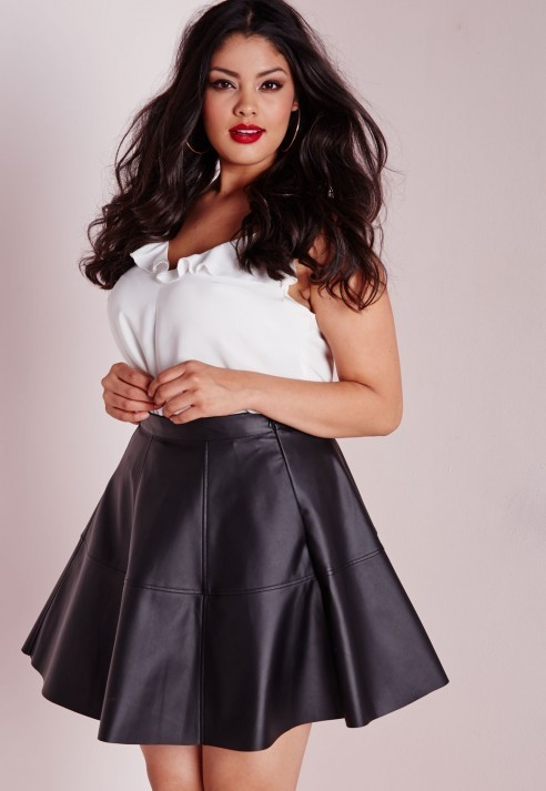 $34, Missguided Plus Size Faux Leather Skater Skirt Black