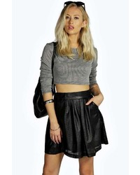 Boohoo Pearla Punched Pu Skater Skirt
