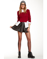 Nasty Gal Pleated Faux Leather Skater Skirt