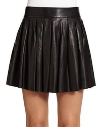 Alice + Olivia Pleated Leather Skirt