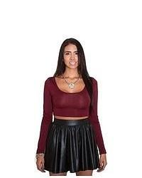 Soho Girl Leather Skater Skirt In Black