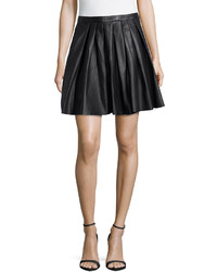 Nicole Miller Swingy Pleated Leather Skirt