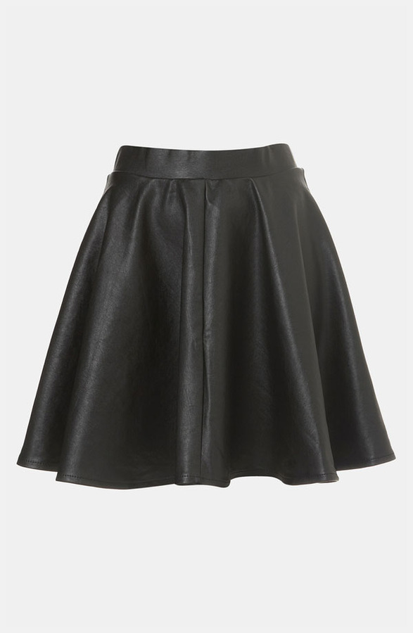 topshop andie faux leather skater skirt where to buy