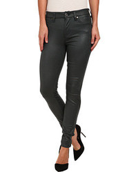 7 For All Mankind Knee Seam Skinny W Contour Waistband In Teal Leather Like