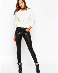 Asos Collection Sculpt Me Premium Ankle Grazer Jeans In Black Coated