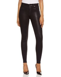 Hudson Barbara Coated Super Skinny Jeans In Noir