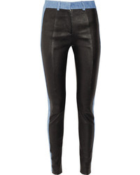 Acne Studios Best Leather And Stretch Denim Leggings Style Pants
