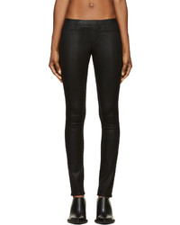 Helmut Lang Black Coated Denim Leggings