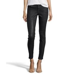 James Jeans Black Coated Stretch Cotton Denim Moto Skinny Jeans