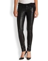 True Religion Casey Ribbed Vegan Leather Paneled Skinny Jeans