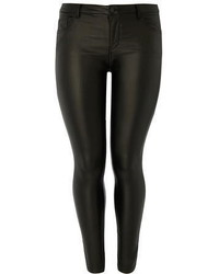 Dp Curve Black Pu Coated Jeans