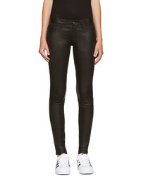Frame Denim Black Leather Le Skinny De Jeanne Pants
