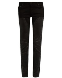 Givenchy Mid Rise Skinny Leg Leather Panelled Jeans