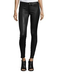 Rag & Bone Jean Skinny Leather Ankle Pants Black