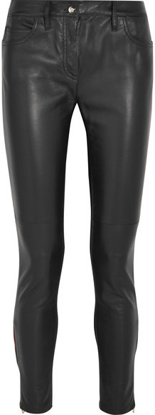 Versace Leather And Stretch Jersey Mid Rise Skinny Jeans Black