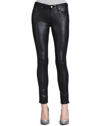 7 For All Mankind Leather Like Skinny Jeans Black