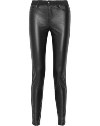 McQ by Alexander McQueen Mcq Alexander Mcqueen Faux Leather Paneled Mid Rise Skinny Jeans