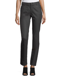 Lafayette 148 New York Mercer Mid Rise Leather Skinny Jeans