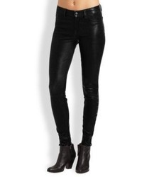 J Brand Mid Rise Leather Skinny Jeans