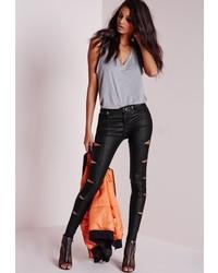 Missguided Hustler Mid Rise Multi Zip Skinny Jeans Coated Black