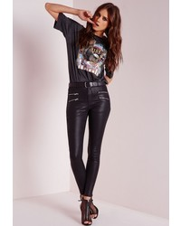 Missguided Hustler Mid Rise Zipped Skinny Jeans Coated Black