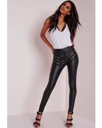 Missguided Sinner High Waisted Multi Zip Skinny Jeans Coated Black