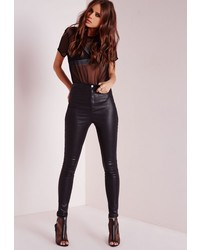 Missguided Vice Super Stretch High Waisted Skinny Jeans Coated Black