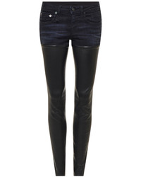 R 13 R13 Leather And Denim Mid Rise Skinny Jeans Black