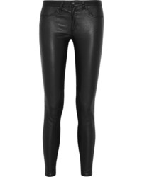 Rag and Bone Rag Bone Jean Stretch Leather Mid Rise Skinny Jeans