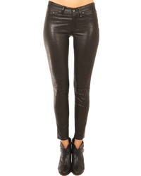Rag and Bone Rag Bone Washed Black Leather Skinny Pant