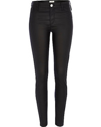 River Island Black Coated Leather Look Molly Jeggings
